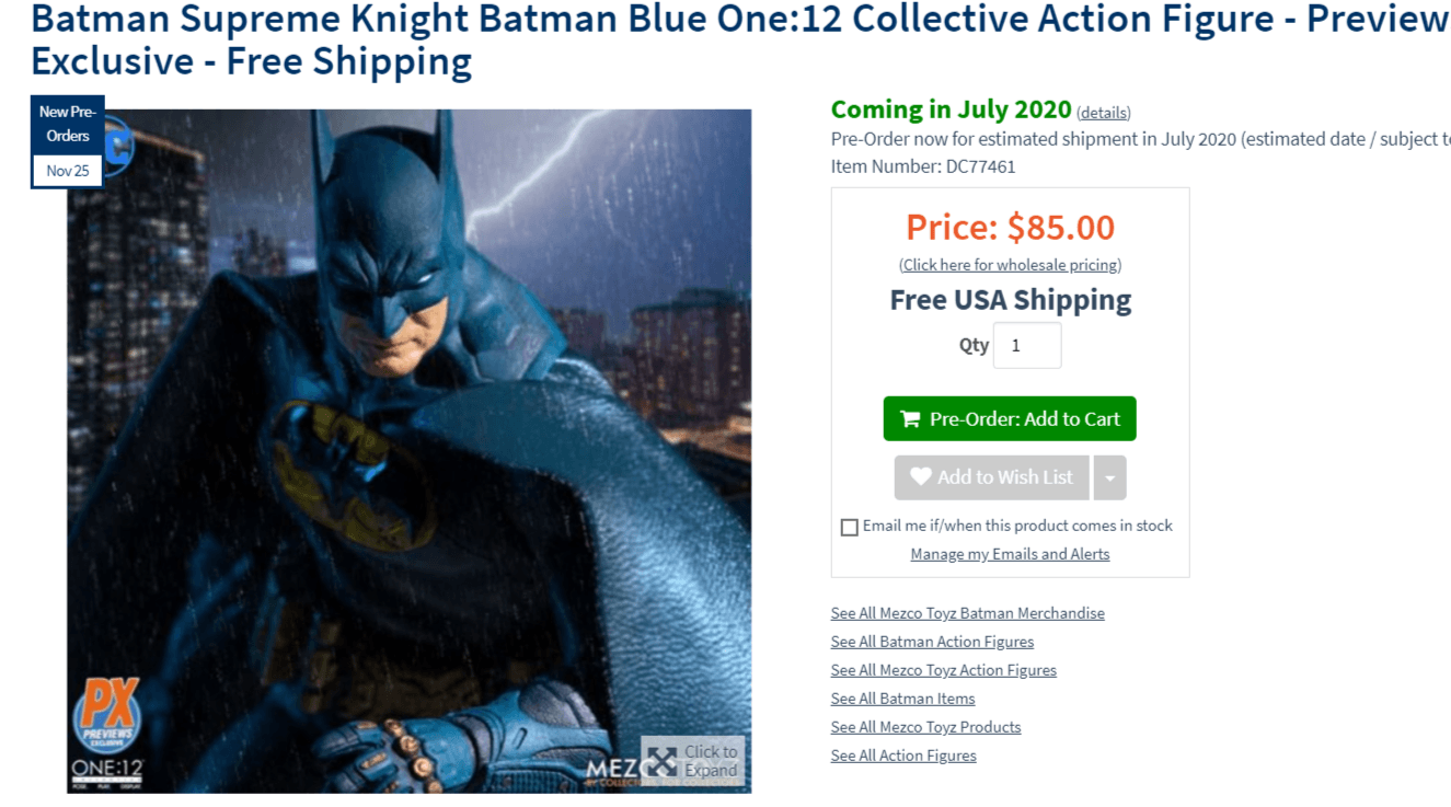 La figurine Batman Supreme Knight Batman Blue One 12 en pré-commande photo achat